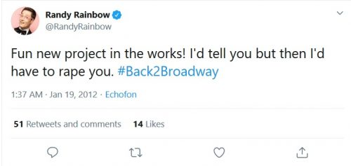 Rapey Randy Rainbow tweet