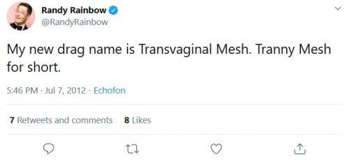 Transphobic Randy Rainbow tweet