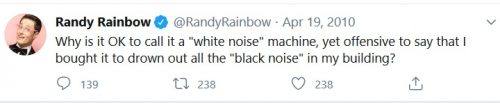 Racist Randy Rainbow tweet