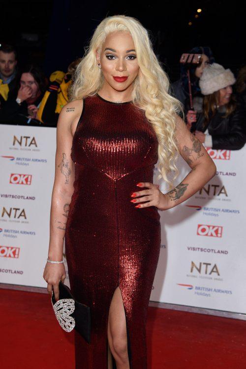 LONDON, UK. January 22, 2019: Munroe Bergdorf at the National TV Awards 2019 at the O2 Arena, London.