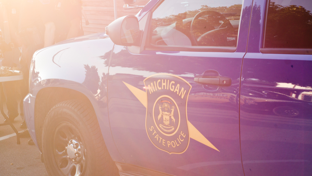 Rockford, Michigan - August 6th 2019: State Police Officers attend National Night Out