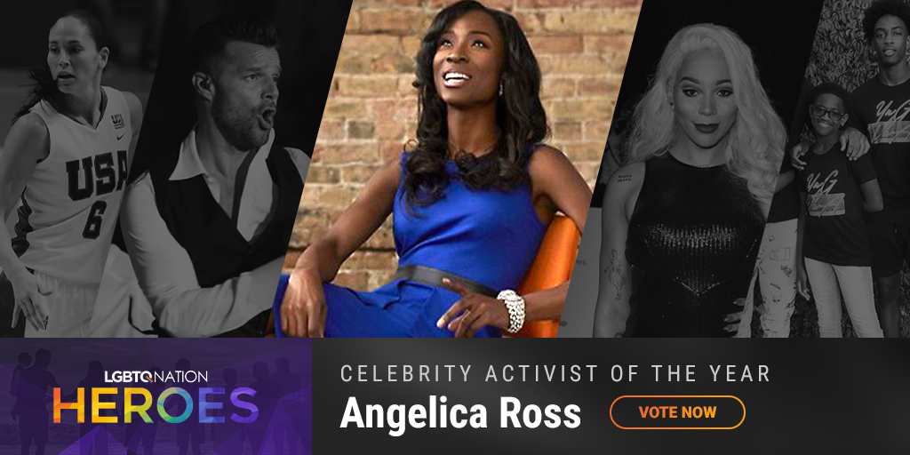 A graphic showing Angelica Ross, who is nominated for LGBTQ Celebrity Activist of the Year.