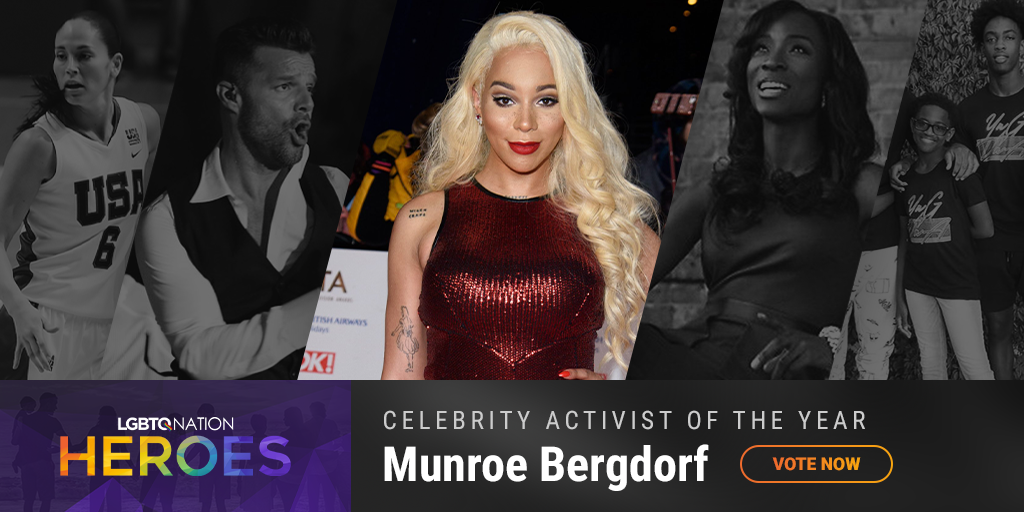 A graphic showing Munroe Bergdorf, who is nominated for LGBTQ Celebrity Activist of the Year.