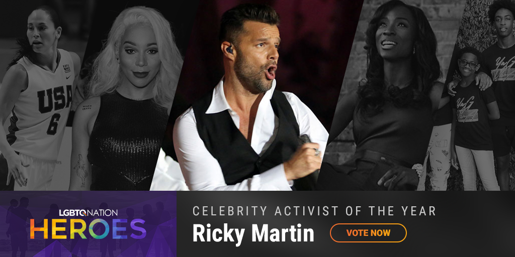 A graphic showing Ricky Martin, who is nominated for LGBTQ Celebrity Activist of the Year.