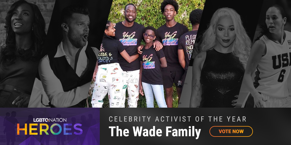 A graphic showing Dwayne Wade and his family, who are nominated for LGBTQ Celebrity Activist of the Year.