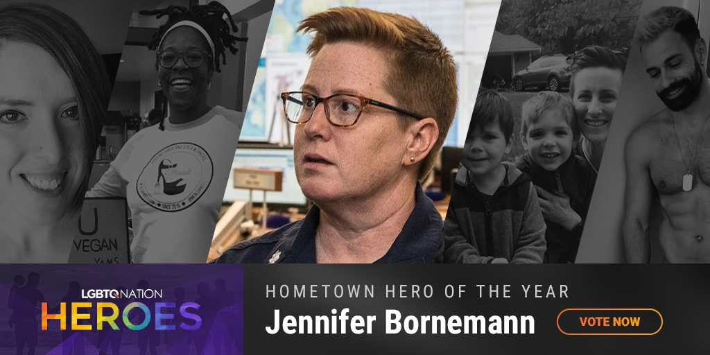 A graphic showing Jennifer Bornemann, who is nominated for Hometown Hero as part of LGBTQ Nation Heroes.