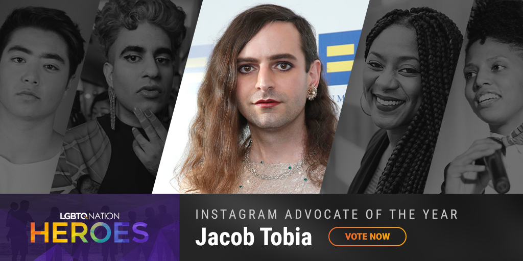 A graphic showing Jacob Tobia, who is nominated for LGBTQ Instagram Advocate of the Year.