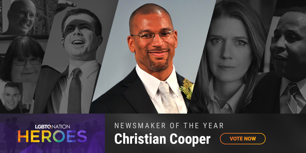 A graphic showcasing Central Park bird watcher Christian Cooper, who are nominated for LGBTQ Nation Heroes