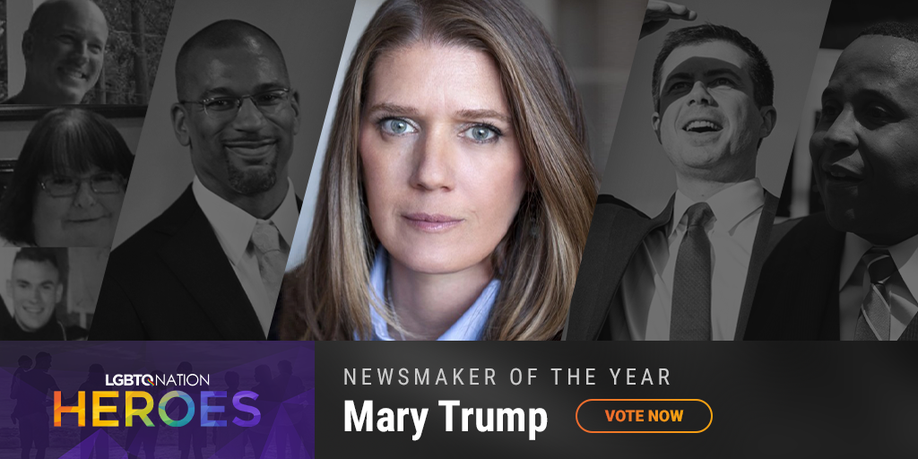 A graphic showcasing Donald Trump's niece, Marty Trump, who are nominated for LGBTQ Nation Heroes Newsmaker of the Year