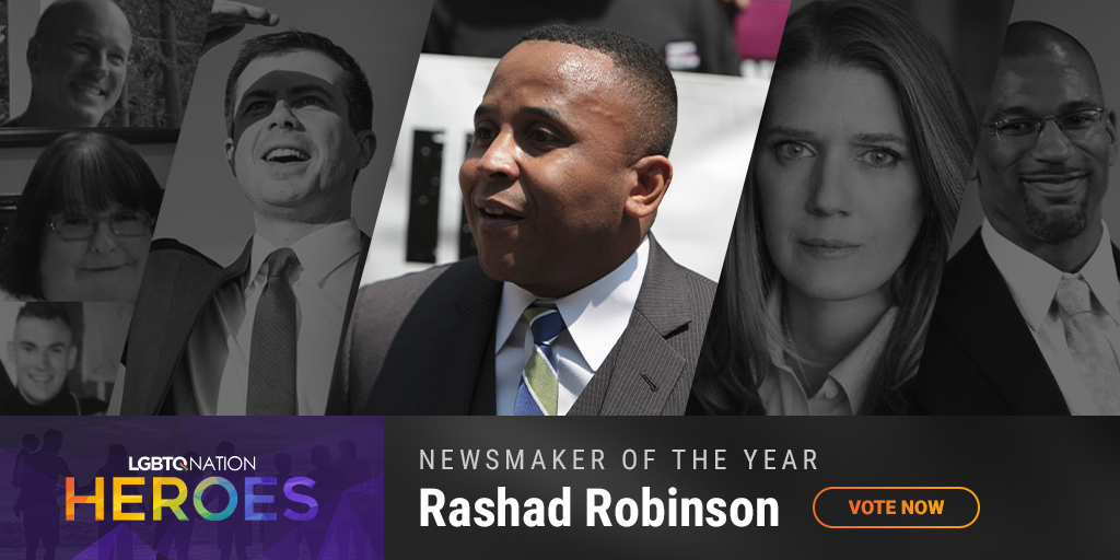 A graphic showcasing Facebook whistleblower Rashad Robinson, who is nominated for LGBTQ Nation Heroes Newsmaker of the Year