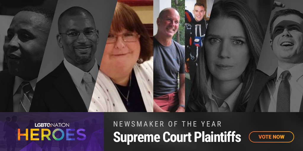 A graphic showcasing the Bostock Supreme Court plaintiffs, who are nominated for LGBTQ Nation Heroes