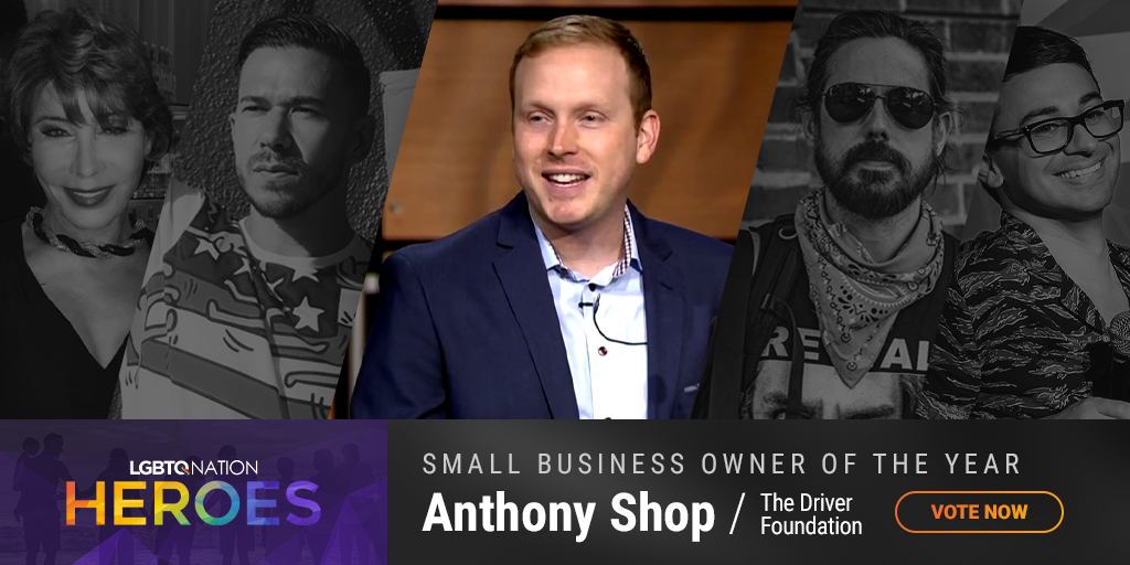 A graphic showing Anthony Shop of The Driver Foundation, who is nominated for Small Business Owner of the Year as part of LGBTQ Nation Heroes.