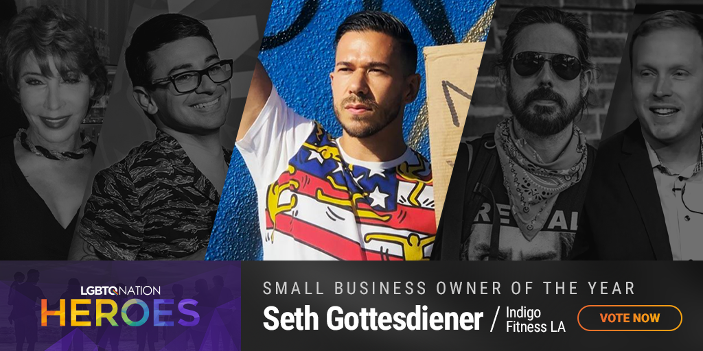 A graphic showing Seth Gottesdiener of Indigo Fitness in LA, who is nominated for Small Business Owner of the Year as part of LGBTQ Nation Heroes.