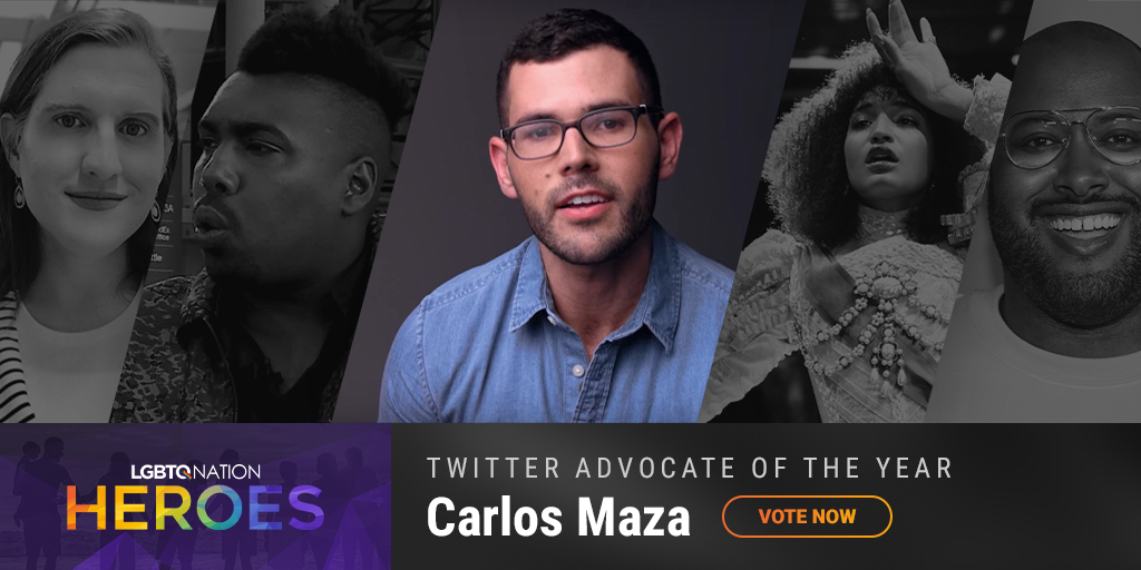 A graphic showing Carlos Maza, who is nominated for Twitter Advocate of the Year.