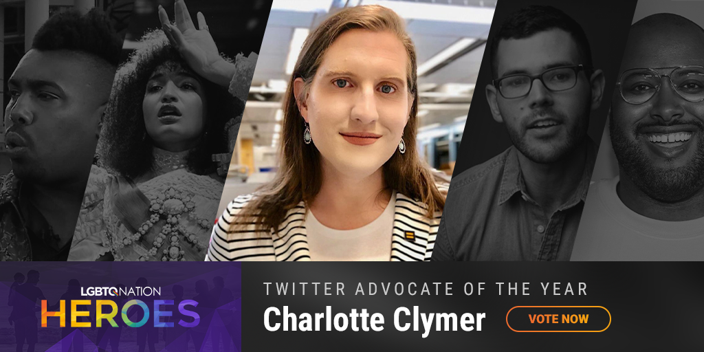 A graphic showing Charlotte Clymer, who is nominated for Twitter Advocate of the Year.