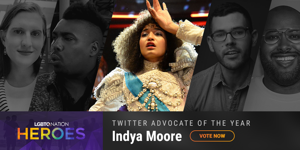 A graphic showing Indya Moore, who is nominated for Twitter Advocate of the Year.