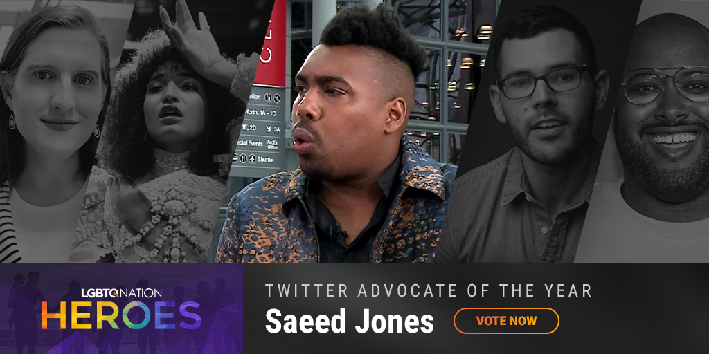 A graphic showing Saeed Jones, who is nominated for Twitter Advocate of the Year.