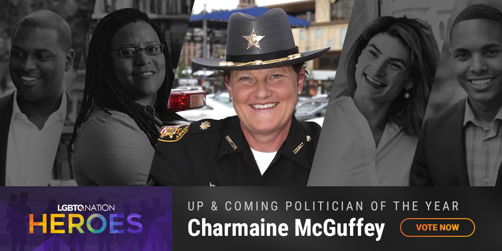 A graphic of LGBTQ politician, Charmaine McGuffey, who is nominated for up and coming politician of the year.
