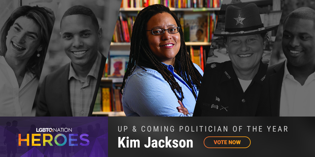 A graphic of LGBTQ politician, Kim Jackson, who is nominated for up and coming politician of the year.