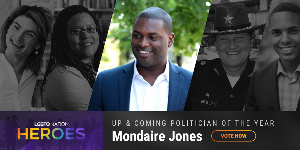 A graphic of LGBTQ politician, Mondaire Jones, who is nominated for up and coming politician of the year.