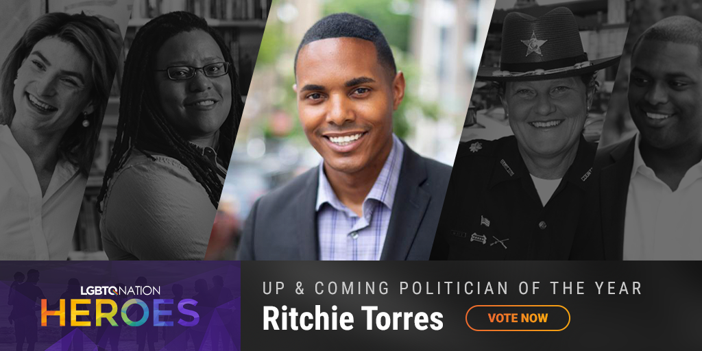 A graphic of LGBTQ politician, Ritchie Torres, who is nominated for up and coming politician of the year.
