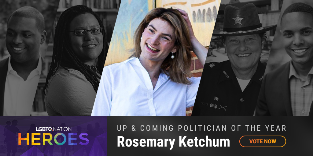 A graphic of LGBTQ politician Rosemary Ketchum, who is nominated for up and coming politician of the year.