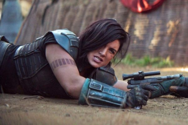 Gina Carano's character, Cara Dune, takes fire in an episode of the Mandalorian.