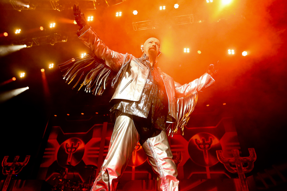 Rob Halford of Judas Priest performs in concert at NYCB Live Nassau Coliseum on March 17, 2018 in Uniondale, New York.