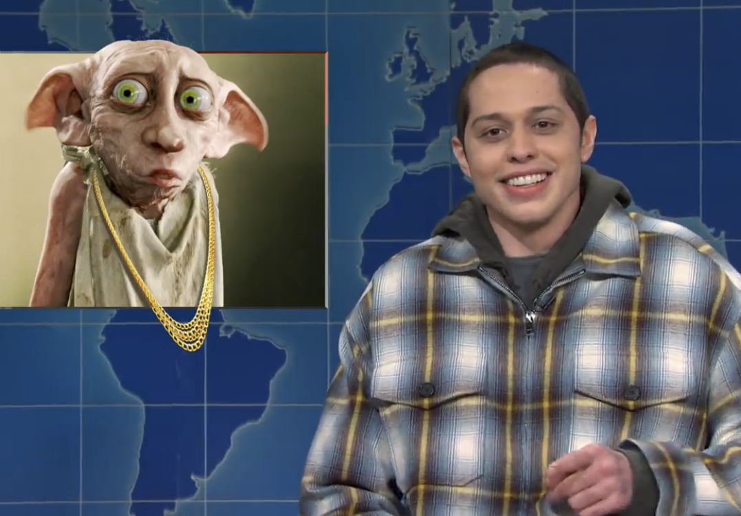 "Pete Davidson (right), in comparison to ""Dobby the House Elf"" (left), one of Rowling's characters, in a segment of Weekend Update on Saturday Night Live."