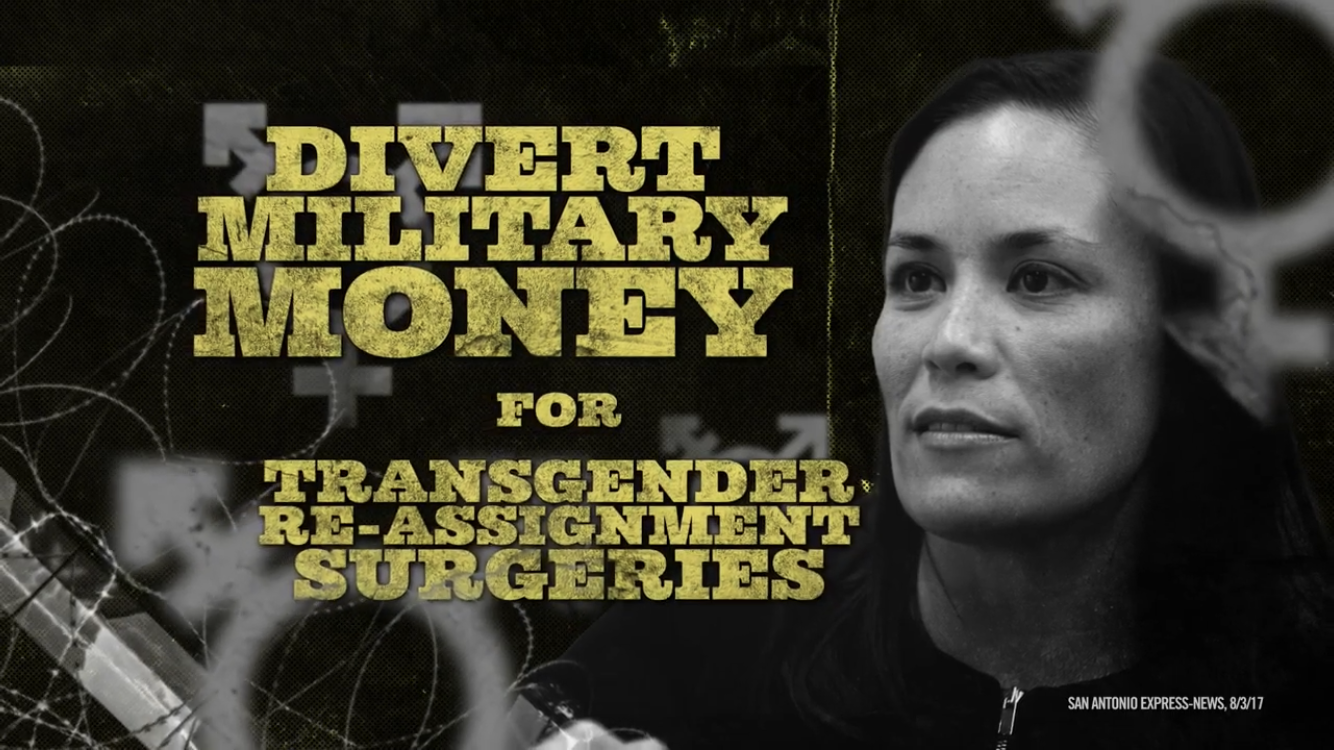 """A still from """"Death Sentence"""", the NRCC's political ad attacking Gina Ortiz-Jones and promoting the claim that she wants to """"divert military money for transgender re-assignment surgeries."""""""