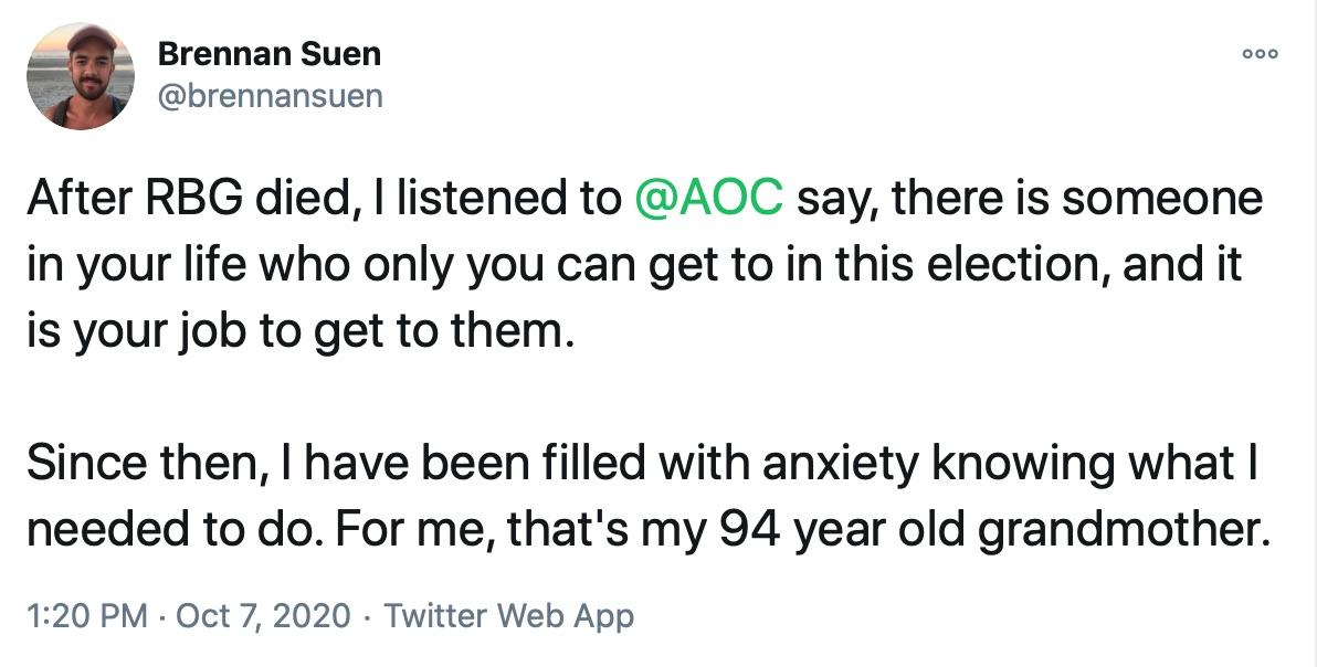 Brennan Suen's tweet about convincing his grandmother to vote for Joe Biden has gone viral.