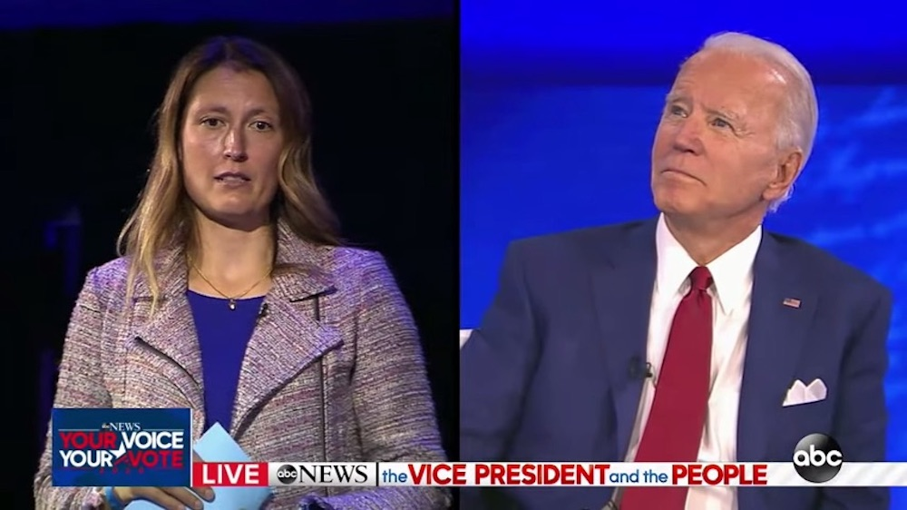 Joe Biden and Mieke Haeck, mother of a trans daughter, at ABC Town Hall