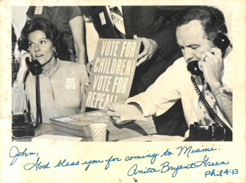 Anita Bryant and Jerry Falwell call voters to support an anti-gay initiative