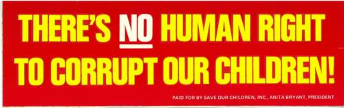 Bumper sticker for Anita Bryant's anti-LGBTQ campaign