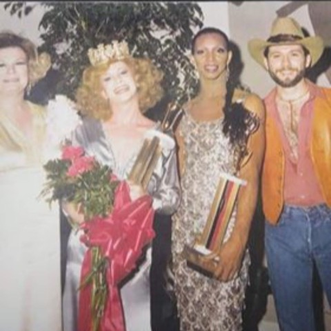 A photo from the Miss Gay Alabama pageant for 1980, taken in 1979 at the Ram's Head, a gay bar in Birmingham. The image is from Bronzie De'Marco, third from left, who has been a drag performer in Alabama for over 50 years. Also in the photo are Barbara Jean (Lady BJ) and Mandy Lynn.