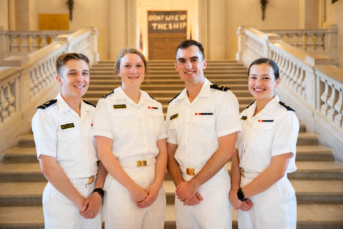 Navy Spectrum Officers MIDN 1/C Tristan Anderson, MIDN 1/C Abby Richardson, MIDN 1/C Lorne Beerman, and MIDN 2/C Quin Ramos