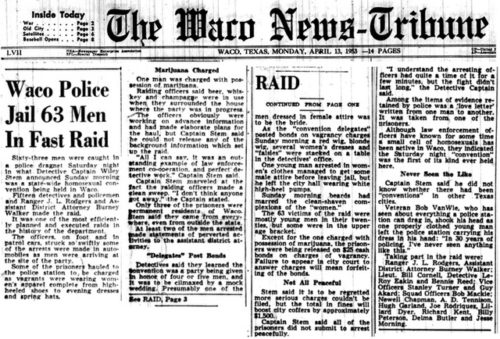 Front page of the Waco News-Tribune after the raid