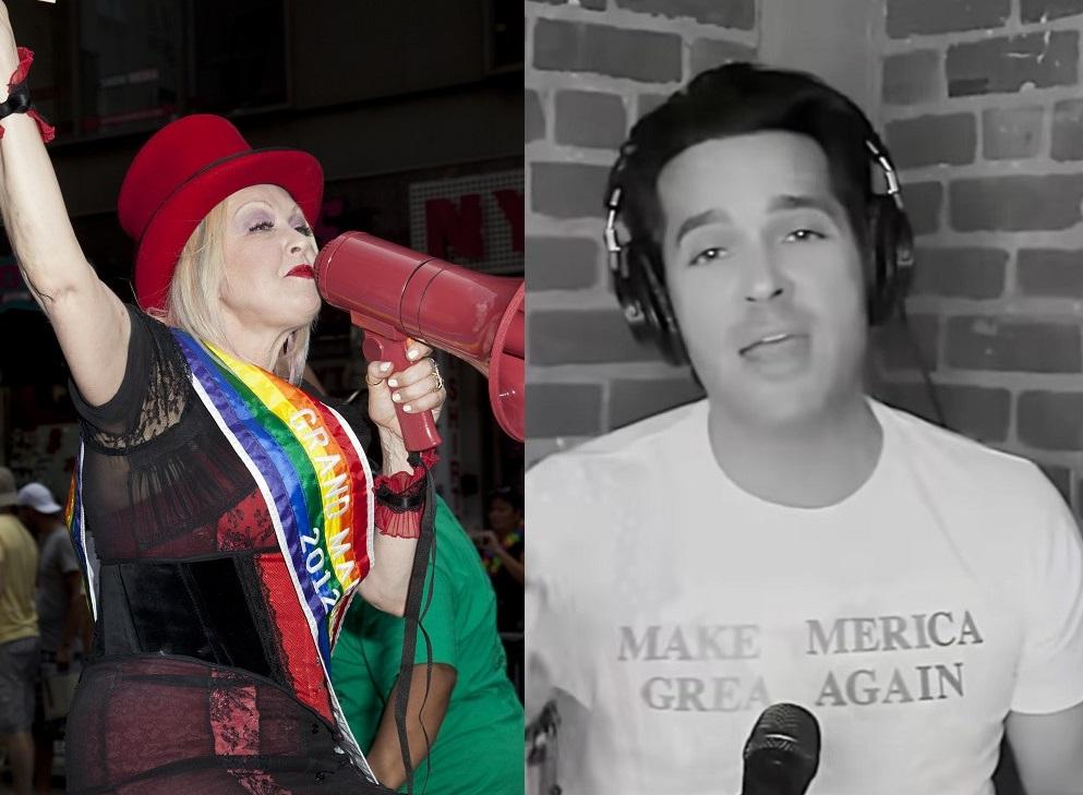 "Cyndi Lauper as Grand Marshal of 2012's NYC Pride/Brandon Straka singing ""True Colors"""