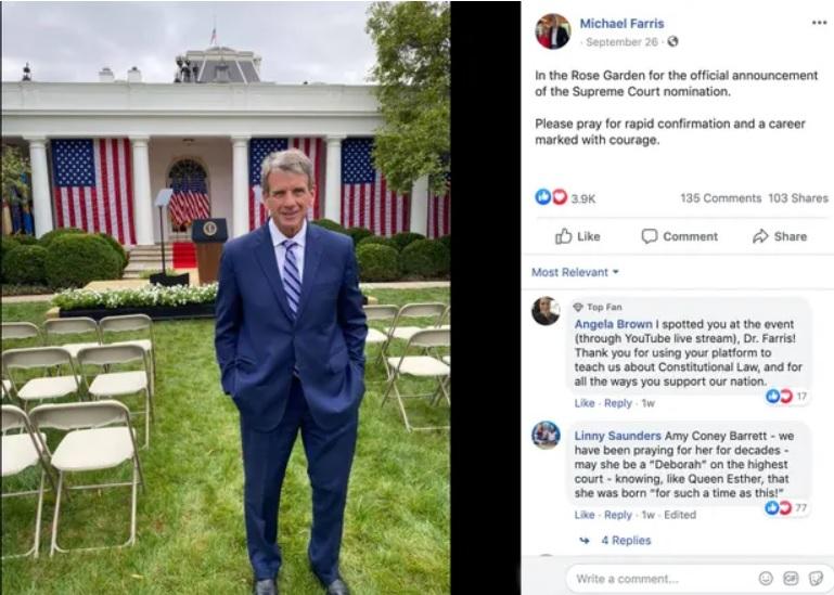 Screenshot of Michael Farris's Facebook post