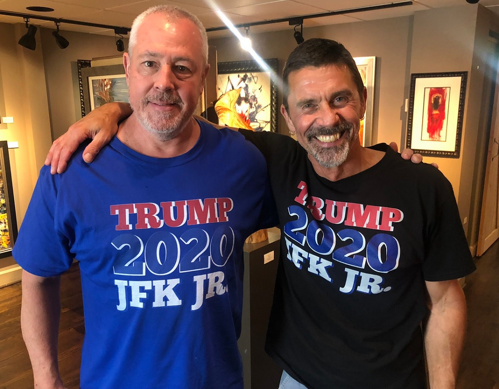 "QAnon believers in ""Trump/JFK Jr."" T-shirts."