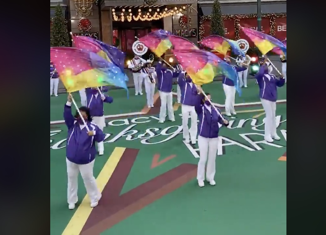 """The Lesbian and Gay Big Apple Corps performing """"Dancing Queen"""" at the Macy's Thanksgiving Day Parade."""