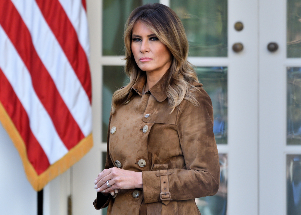 "NOVEMBER 26, 2019: First Lady Melania Trump stands in the Rose Garden of the White House as the President pardons a Turkey named ""Butter""."