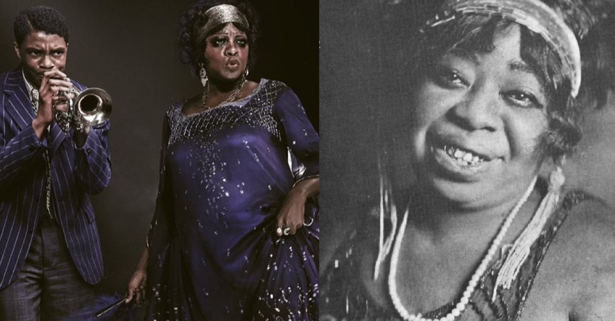 "Chadwick Boseman & Viola Davis (left) star in ""Ma Rainey's Black Bottom,"" a fictional story centered around the real Ma Rainey (right)."