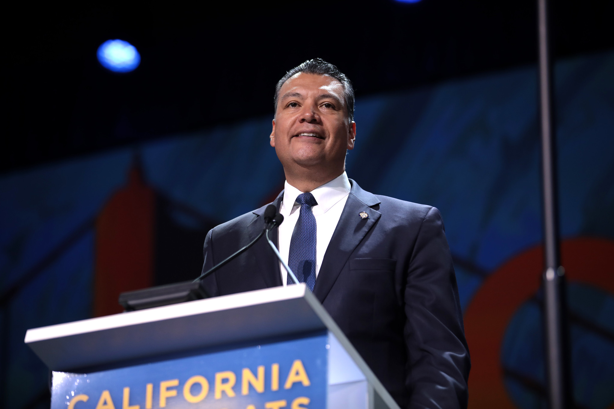 Secretary of State Alex Padilla speaking with attendees at the 2019 California Democratic Party State Convention at the George R. Moscone Convention Center in San Francisco, California.