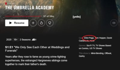 Elliot Page mentioned in credits for The Umbrella Academy