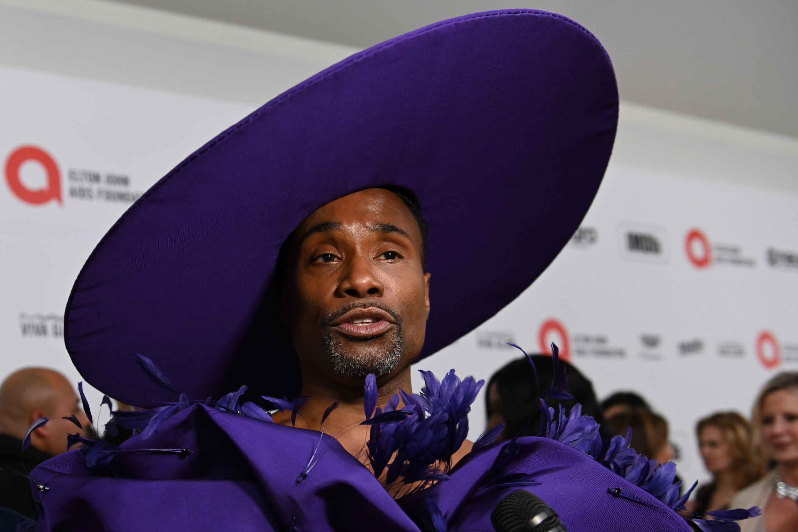 FEBRUARY 09, 2020: Billy Porter walks the red carpet at the Elton John AIDS Foundation Party on February 09, 2020 in Los Angeles, California.
