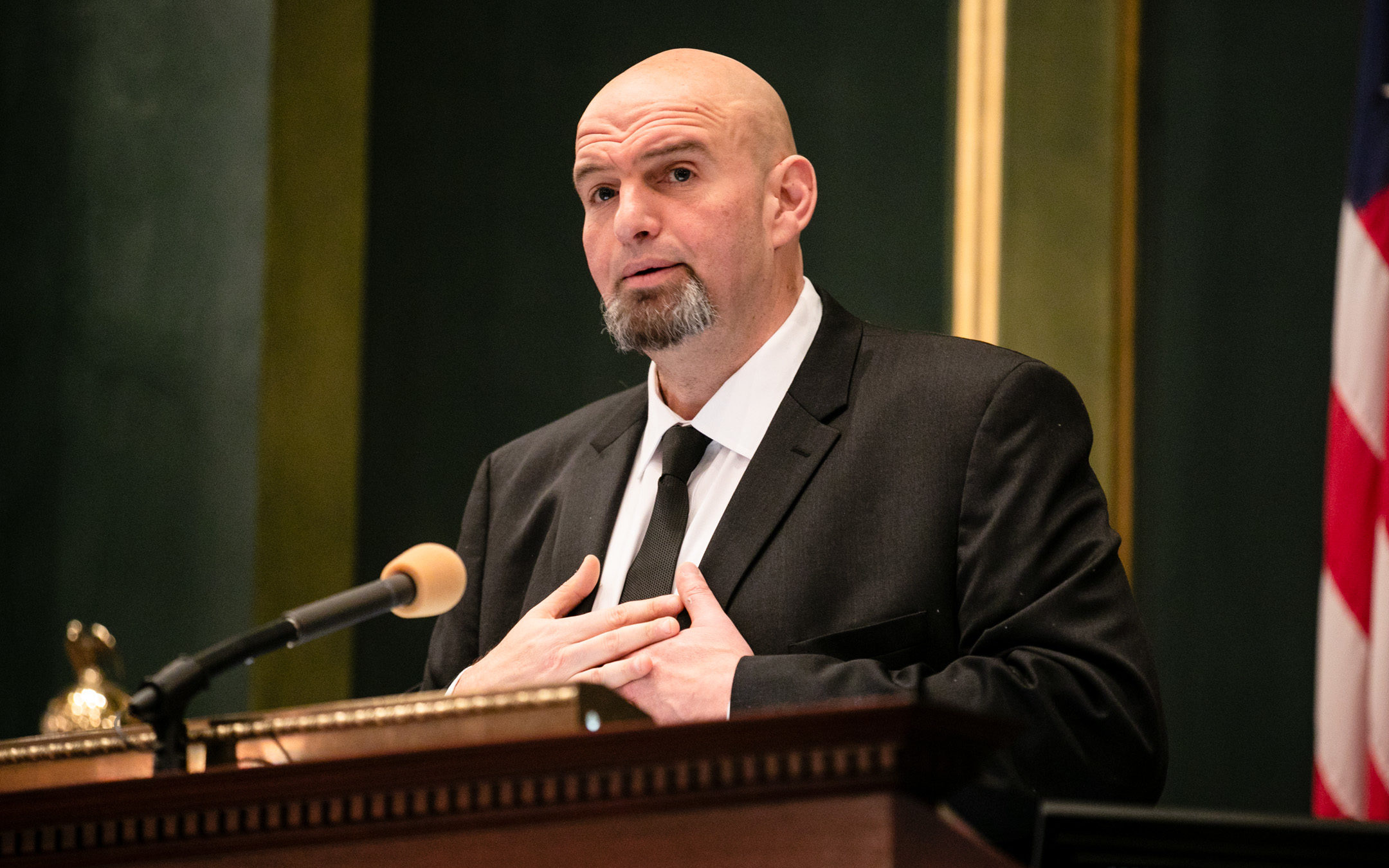 Lt. Governor John Fetterman at the 2019 Inauguration of Governor Tom Wolf and Lieutenant Governor John Fetterman
