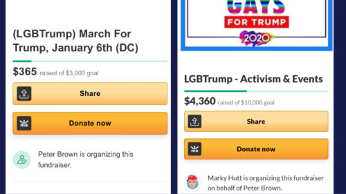 The now-deleted LGBTrump GoFundMe for Hutt's trip to Washington D.C. (left) and the active GoFundMe for activism (right)