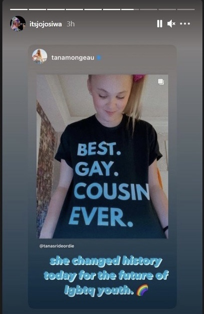 A screenshot of Jojo Siwa's story, featuring a repost of a story by Tana Mongeau saying