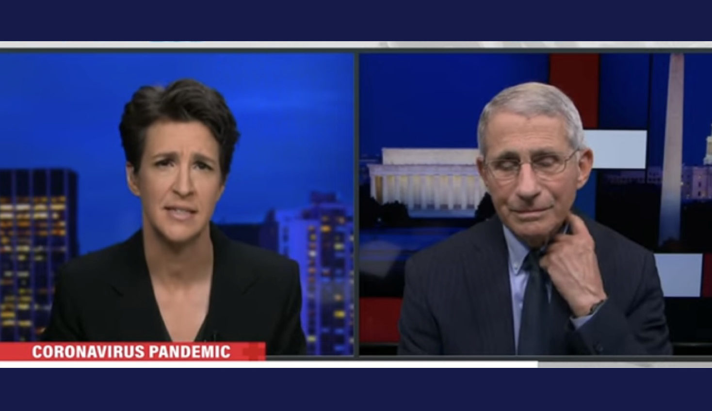Rachel Maddow (left) and Dr. Anthony Fauci (right) on the Rachel Maddow Show